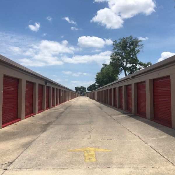 Drive-up access storage units at StorQuest Self Storage in Tampa, Florida