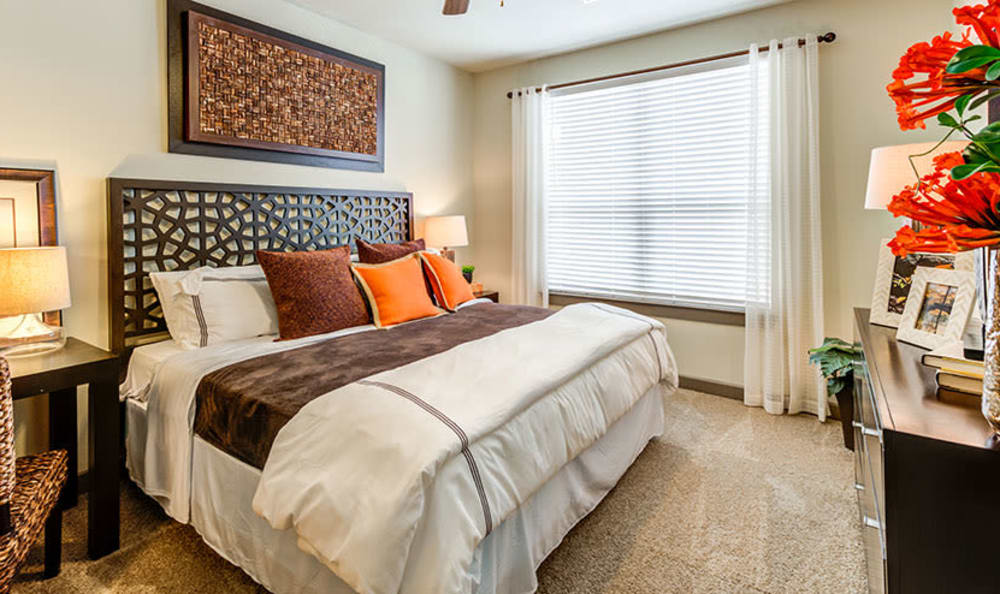 Modern bedroom at GreenVue Apartments in Richardson, Texas