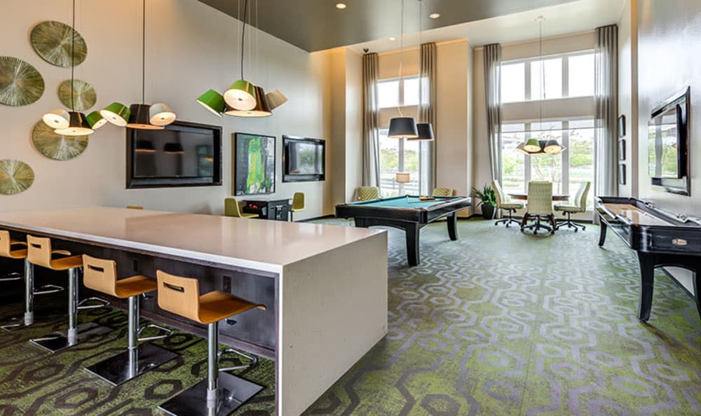 Luxury living room at GreenVue Apartments in Richardson, Texas