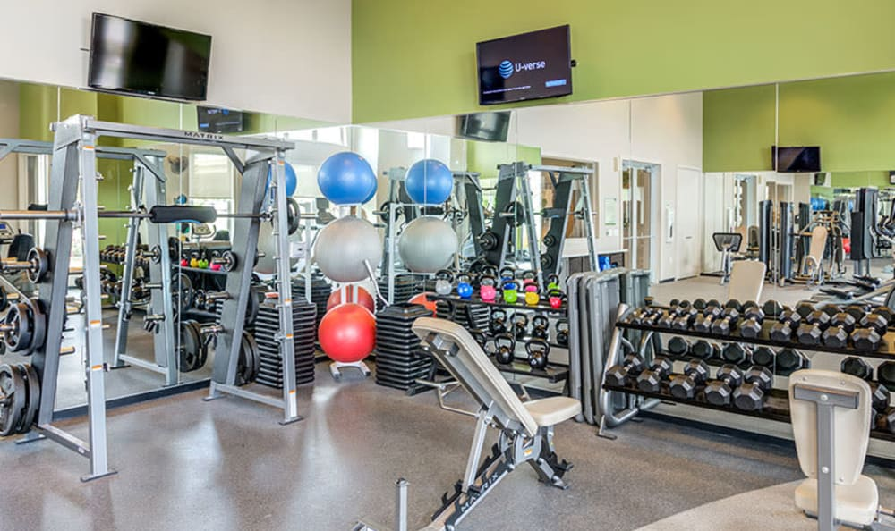 Luxury fitness center at GreenVue Apartments in Richardson, Texas