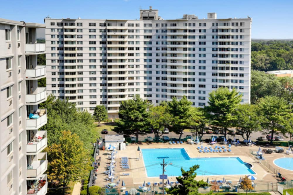 Aerial view of Haddonview Apartments