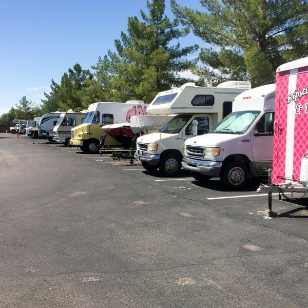 RVs parked at StorQuest Self Storage in Tucson, Arizona