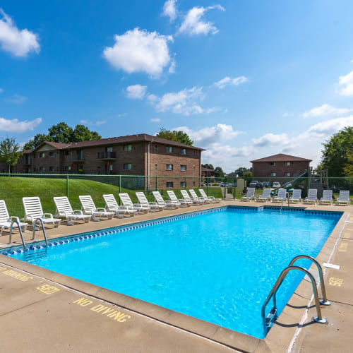 Sparkling swimming pool at Indian Footprints Apartments in Harrison, Ohio