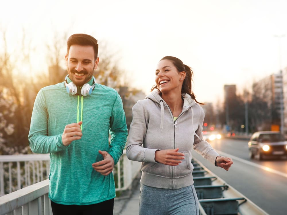 Residents going for a morning jog at Haven Apartment Homes in Kent, Washington