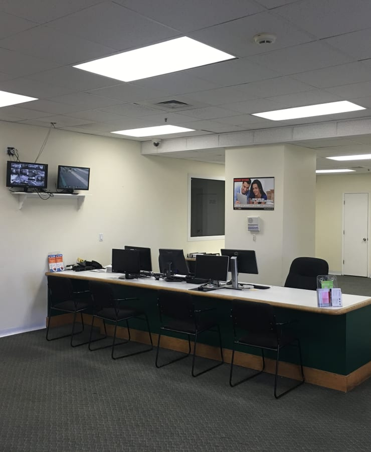 Interior of the leasing office at StorQuest Self Storage in New Haven, Connecticut