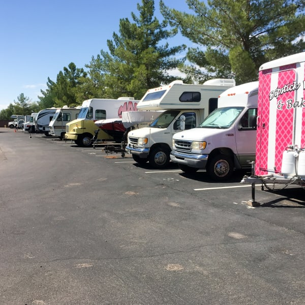 RVs and boats parked at StorQuest Self Storage in El Paso, Texas