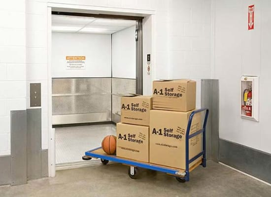 Large elevator and a cart at A-1 Self Storage in Chula Vista, California