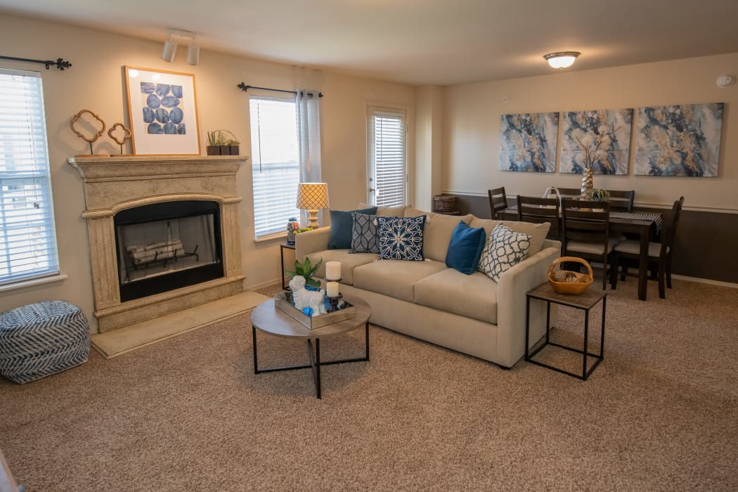 Open living room and dining room at Park at Mission Hills in Broken Arrow, Oklahoma