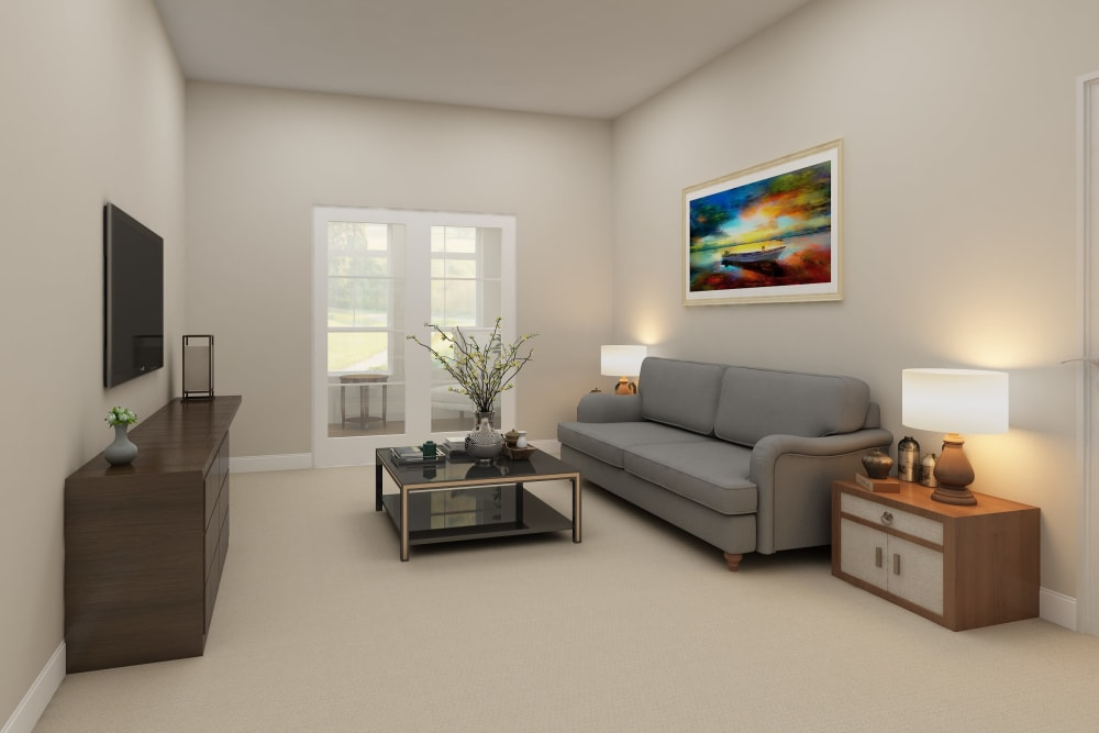 Architectural rendering of living room at Harmony at Bellevue in Nashville, Tennessee