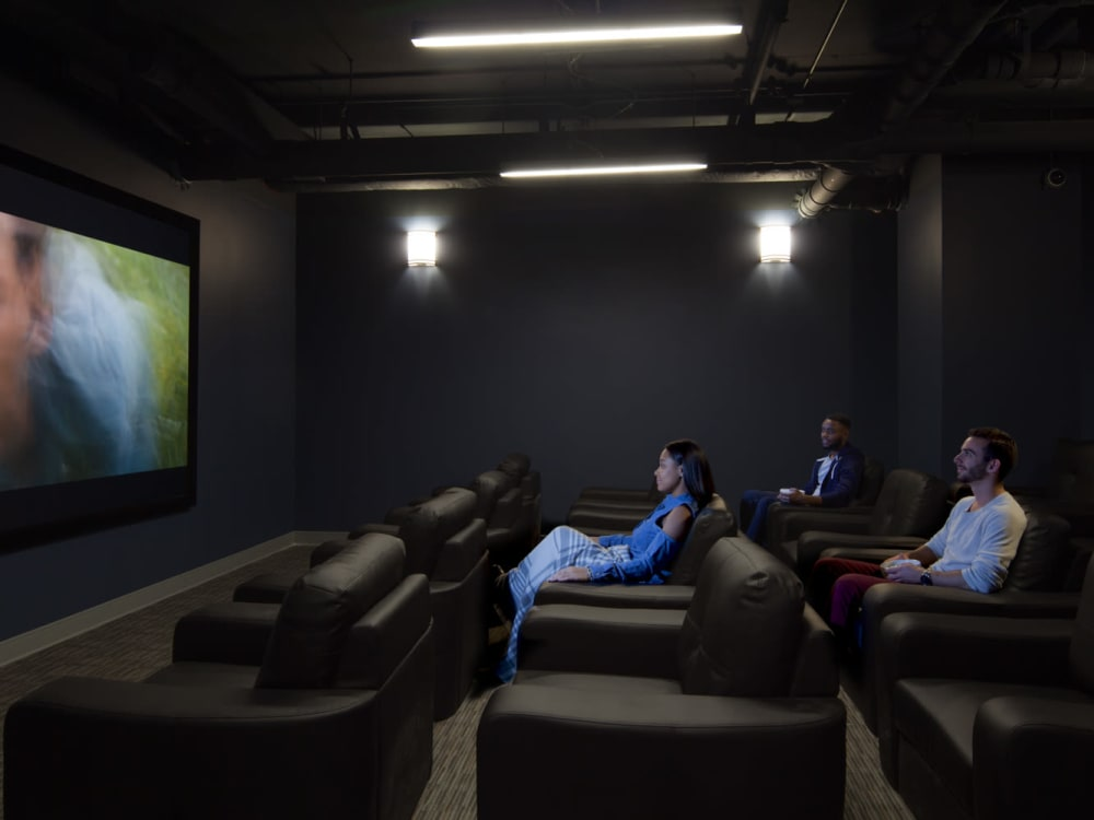 Onsite movie theater at HERE Champaign in Champaign, Illinois