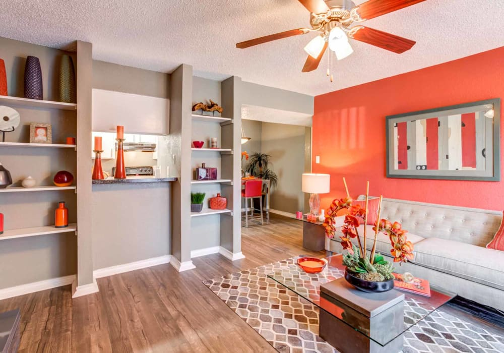 Bright stylish living room at Sausalito Apartments in College Station, Texas
