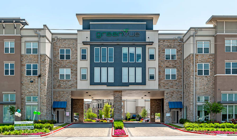 Beautiful entryway at GreenVue Apartments in Richardson, Texas