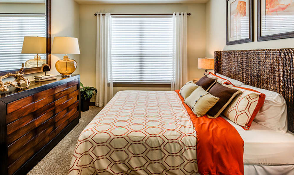 Our apartments in Richardson, Texas showcase a modern bedroom