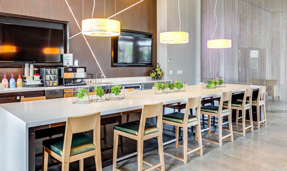 Luxury dining area at GreenVue Apartments in Richardson, Texas