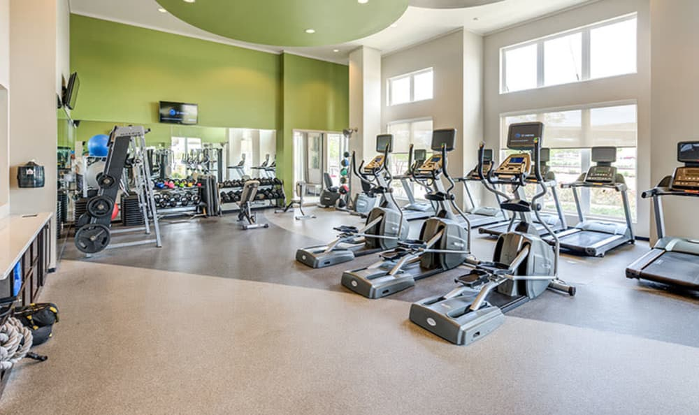 Beautiful fitness center at GreenVue Apartments in Richardson, Texas