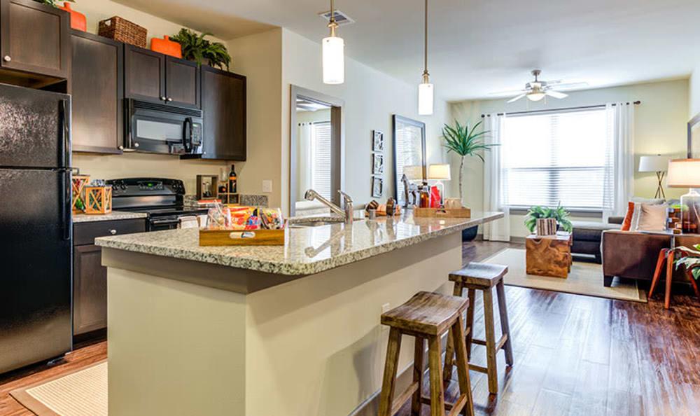 Modern kitchen at apartments in Richardson, Texas
