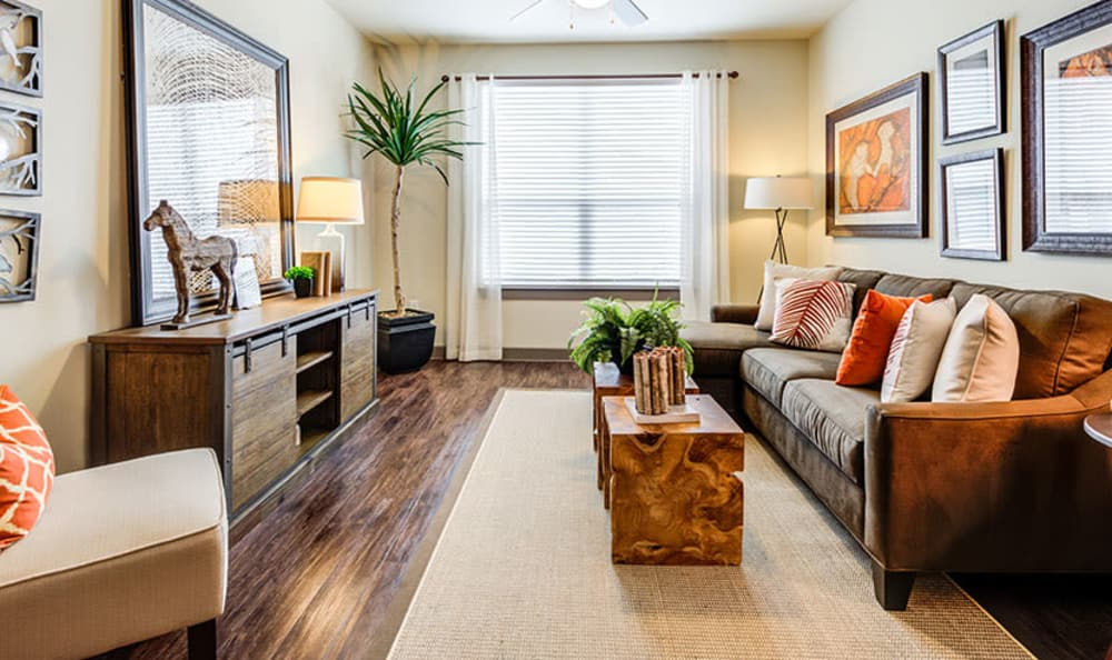 Beautiful living room at GreenVue Apartments in Richardson, Texas