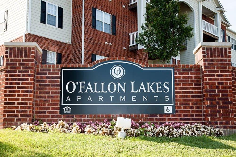 A beautiful apartment sign at O'Fallon Lakes in O'Fallon, Missouri