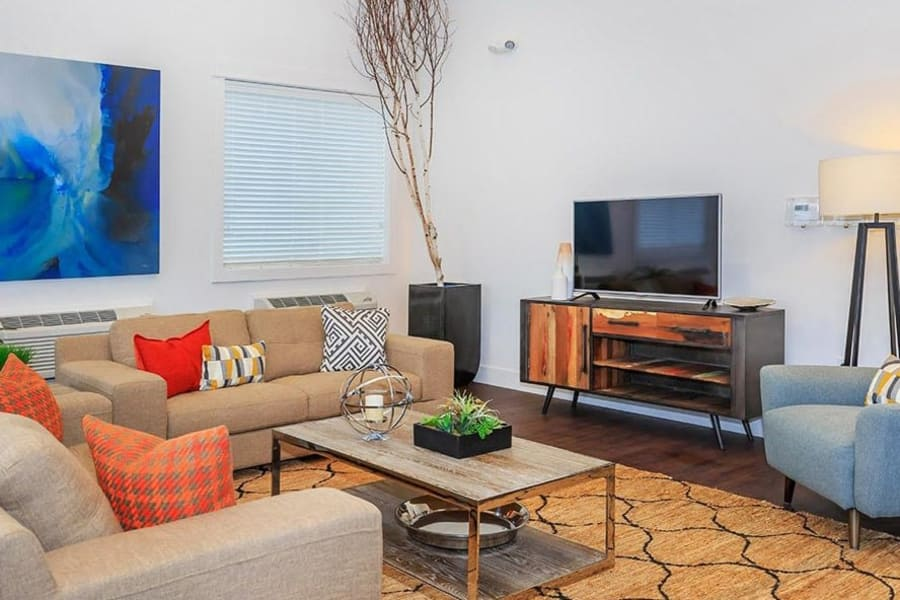 Inviting living room at Ecco Apartments in Eugene