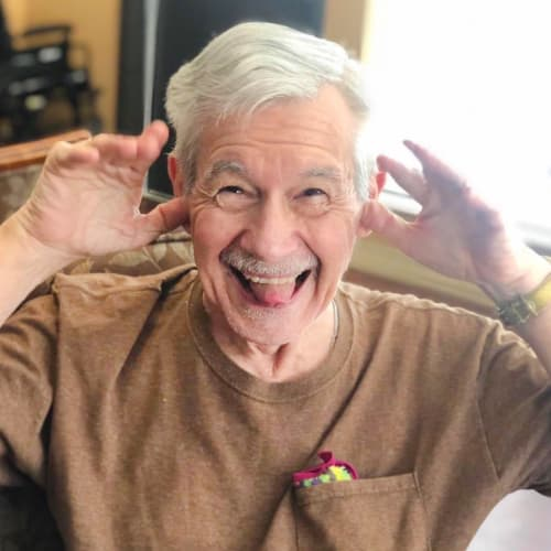 Silly resident at Oxford Glen Memory Care at Sachse in Sachse, Texas