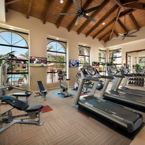 Well-equipped fitness center at San Paseo in Phoenix, Arizona