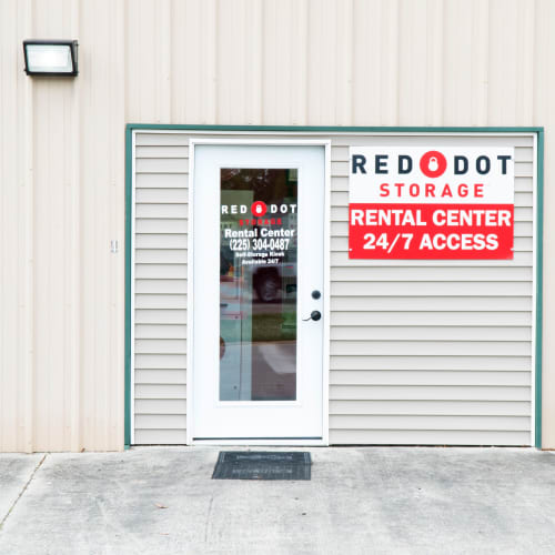 Entrance to the office at Red Dot Storage in Denham Springs, Louisiana