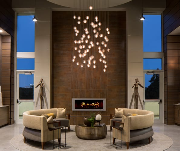 Beautiful fire place and light fixture at Altitude in Atlanta, GA