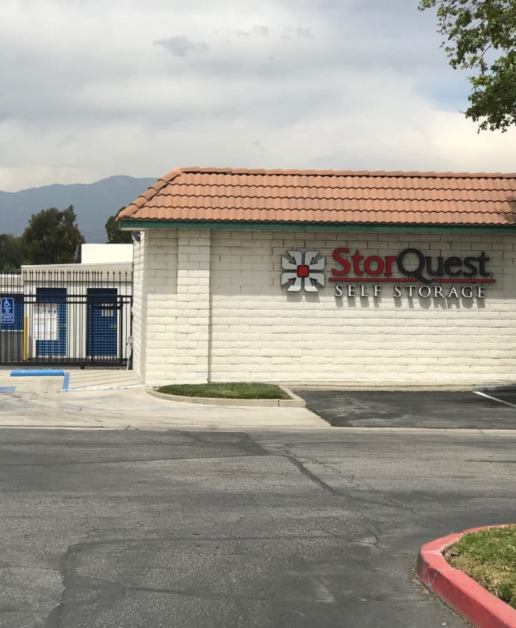 The exterior of the main entrance at StorQuest Self Storage in Loma Linda, California