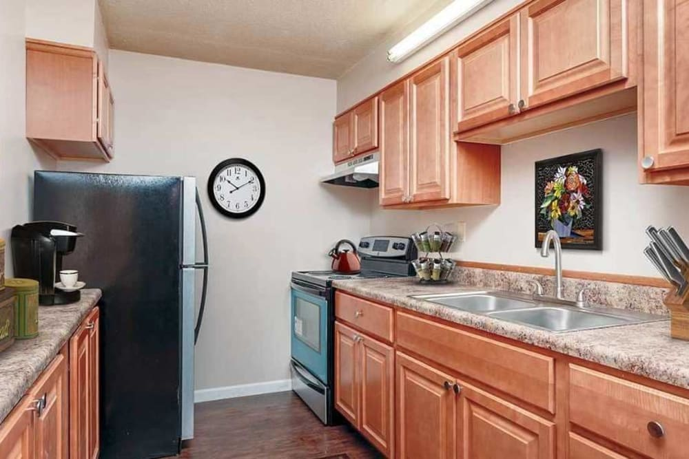 Full-equipped kitchen at Towers on the Hudson in Troy, New York