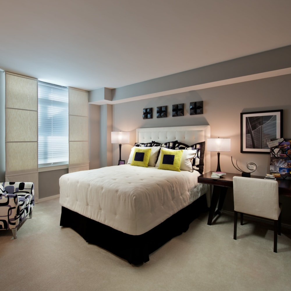 Beautifully decorated bedroom in a model home at Solaire 1150 Ripley in Silver Spring, Maryland