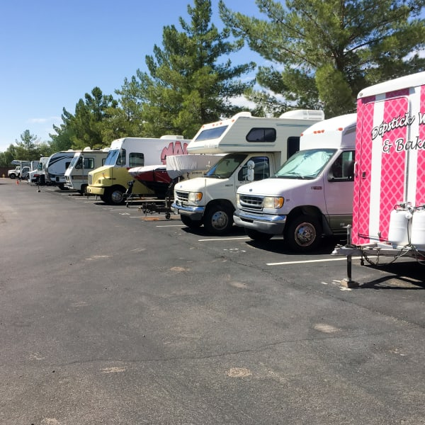 RVs and boats parked at StorQuest Self Storage in Fort Worth, Texas