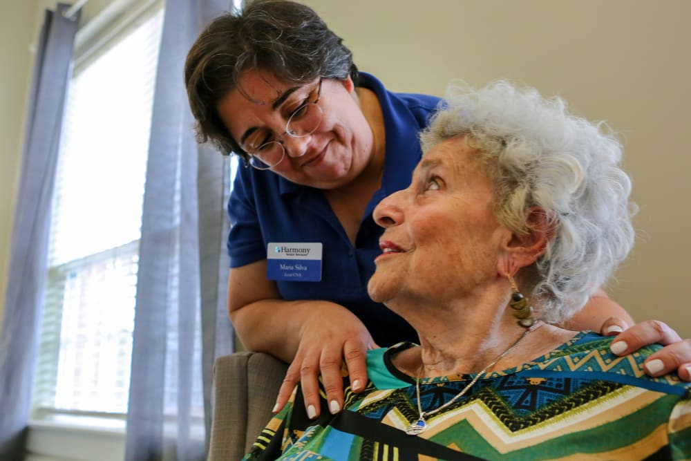 A resident and caretaker at Harmony at Reynolds Mountain in Asheville, North Carolina
