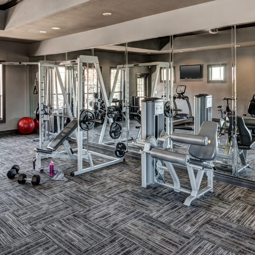 Fitness center with individual work stations at The Asten at Ribelin Ranch in Austin, Texas