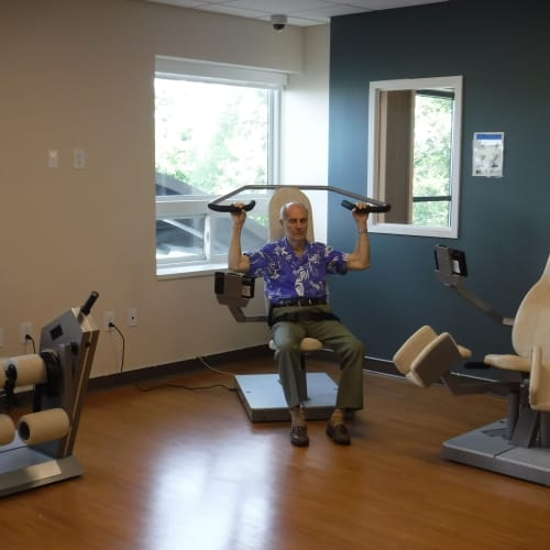 A resident works out at First & Main of Auburn Hills in Auburn Hills, Michigan
