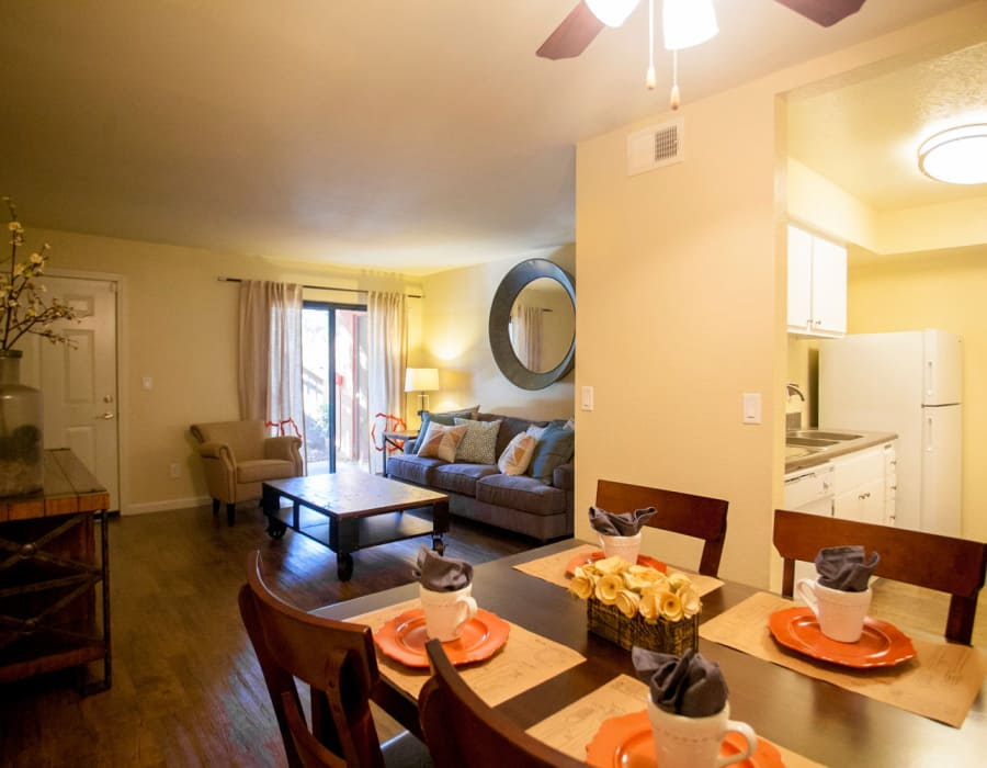 Dining room at Harvest Glen affordable apartments