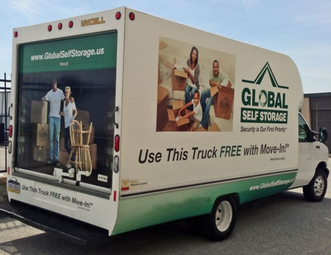 Move in truck from Global Self Storage in McCordsville, Indiana