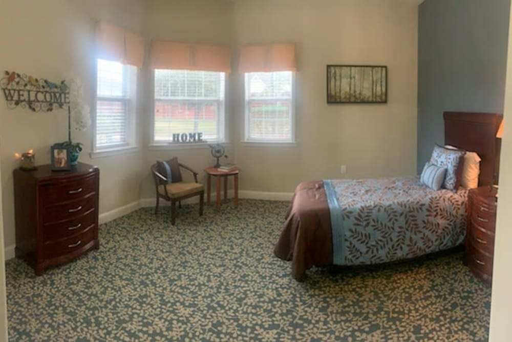 A third resident bedroom at Creekside Alzheimer's Special Care Center in Pearland, Texas