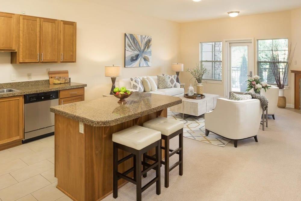 Senior living apartment at The Springs at Tanasbourne in Hillsboro, Oregon.