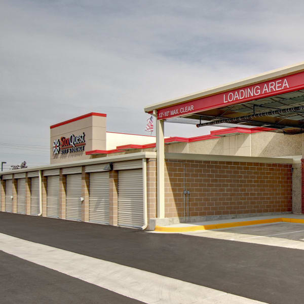 Exterior units and loading area at StorQuest Self Storage in Denver, Colorado