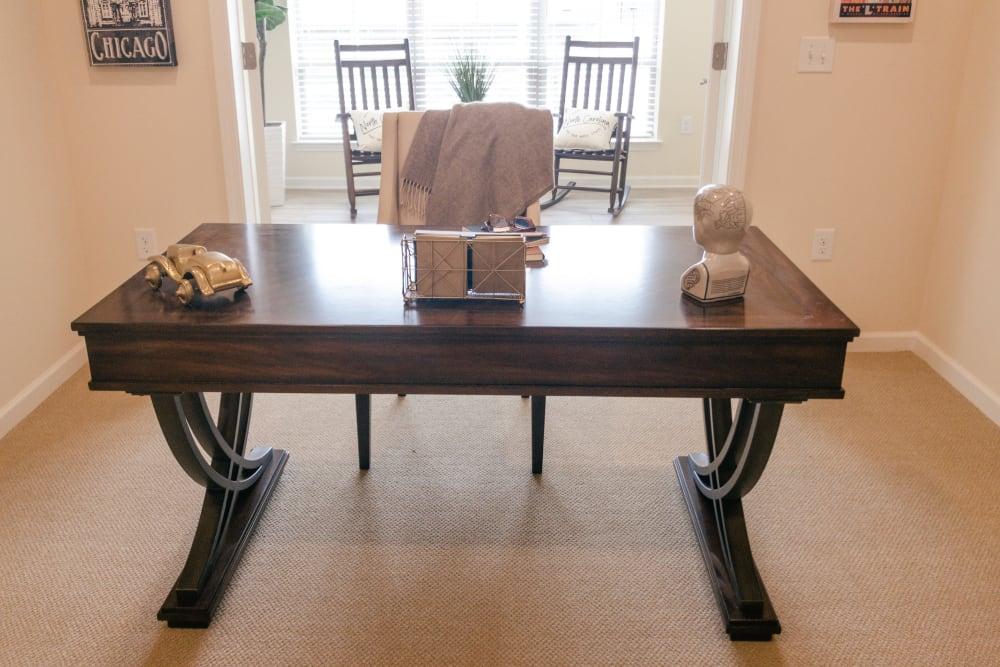 Home office desk in apartment at Harmony at Greensboro in Greensboro, North Carolina