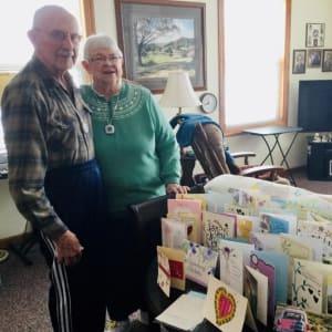 Residents Ron and Carol celebrating their 63rd wedding anniversary at Prairie Hills in Tipton, Iowa.