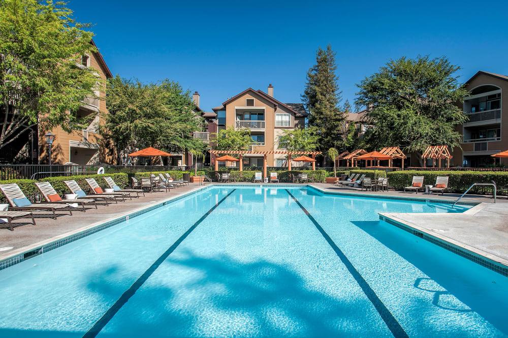 Long swimming pool for practicing laps at Rosewalk in San Jose, California