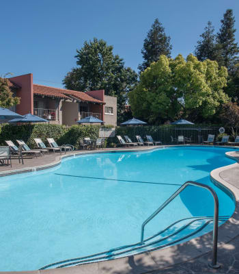 Swimming pool with a hot tub at La Valencia Apartment Homes in Campbell, California