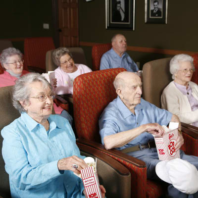 Residents watching a movie at Deer Crest Senior Living in Red Wing, Minnesota