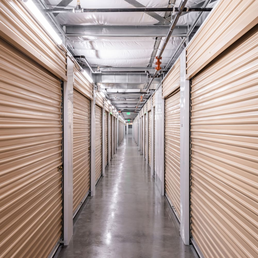 Interior storage units at Cubes Self Storage in Kirkland, Washington