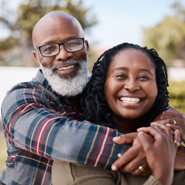 Couple embracing at Monte Vista Village in Lemon Grove, California