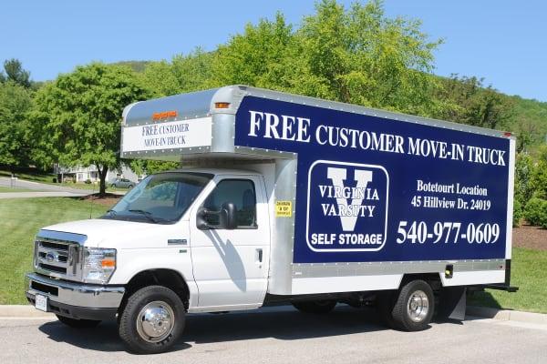 Customer moving truck at Virginia Varsity Self Storage in Roanoke, Virginia