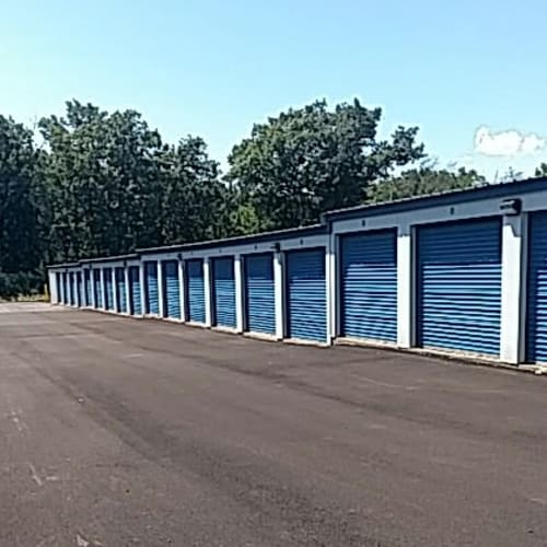 Outdoor storage units at Red Dot Storage in Antioch, Illinois