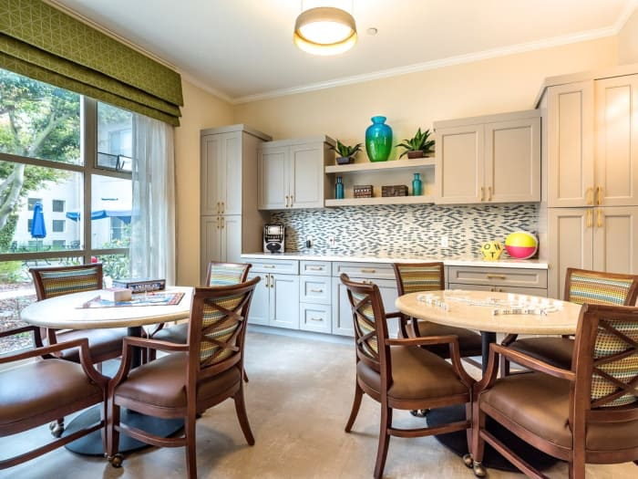 Kitchen and dinind room at Pacifica Senior Living Mission Villa in Daly City, California