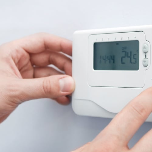 Temperature control thermostat at Red Dot Storage in Holt, Michigan
